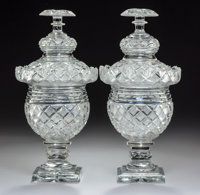 A Pair of English Covered Cut-Glass Pedestal Jars with Diamond Point Design, early 19th century 11-5/8 x 5-5/8 inc
