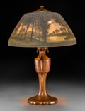 Glass, A Handel Reverse-Painted Glass Table Lamp on Coppered Base, New York, early 20th century. Marks to base: HANDEL. Marks t... (Total: 2 Items)