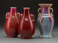 Asian:Chinese, Three Chinese Oxblood Flambe-Glazed Porcelain Vases, late19th-early 20th century . 8-1/8 x 4-1/4 x 3-1/4 inches (2...