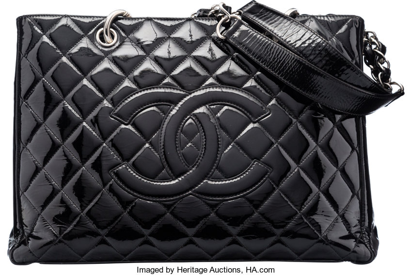 de00319b55f9 Chanel Black Quilted Patent Leather Grand Shopping Tote Bag
