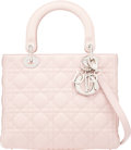 Luxury Accessories:Bags, Christian Dior Light Pink Cannage Quilted Lambskin Leather Medium Lady Dior Bag with Silver Hardware. Condition: 1. 9....