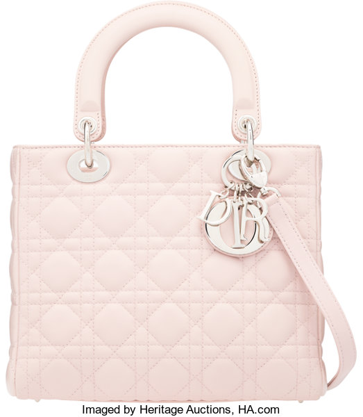 0cc9be94b6b ... Luxury Accessories:Bags, Christian Dior Light Pink Cannage Quilted  Lambskin Leather MediumLady Dior Bag ...