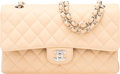 "Luxury Accessories:Bags, Chanel Beige Quilted Caviar Leather Medium Double Flap Bag with Silver Hardware. Condition: 1. 10"" Width x 6"" Height x..."