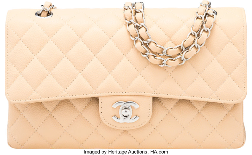 b48f14c24a4 Chanel Beige Quilted Caviar Leather Medium Double Flap Bag