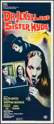 "Dr. Jekyll and Sister Hyde (BEF, 1971). Folded, Very Fine. Australian Daybill (13"" X 30""). Horror"