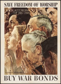 """Movie Posters:War, Norman Rockwell World War II Propaganda (U.S. Government Printing Office, 1943). OWI Poster No. 43 (20"""" X 28"""") """"Save Freedom..."""