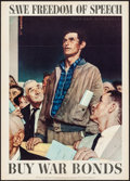 "Movie Posters:War, Norman Rockwell World War II Propaganda (U.S. Government Printing Office, 1943). OWI Poster No. 44 (20"" X 28"") ""Save Freedom..."