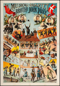 """Musical Quartet: The Brothers John Price (Adolph Friedlander, Early 1900s). Poster (33.5"""" X 47.75""""). Musical..."""