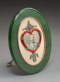 Decorative Arts, Continental:Other , A Spinach Jade, 14K Gold, Diamond, Guilloché Enamel, andCabochon-Mounted Portrait Frame in the Manner of Fabergé, la...