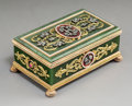 Silver & Vertu:Other, A Spinach Jade, 14K Vari-Color Gold, Diamond, and Guilloché Enamel Snuff Box in the Manner of Fabergé, late 20th century . 1...