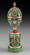 Silver & Vertu:Other, A Spinach Jade, 14K Vari-Color Gold, Diamond, Guilloché Enamel, and Cabochon-Mounted Egg on Stand with Bouquet Surprise in the...