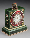 Decorative Arts, Continental:Other , A Spinach Jade, 14K Vari-Color Gold, Diamond, Guilloché Enamel, andCabochon-Mounted Clock in the Manner of Fabergé, ...