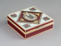 Decorative Arts, Continental, A Guilloché Enamel, 14K Vari-Color Gold, Diamond, andCabochon-Mounted Snuff Box in the Manner of Fabergé, late 20thcentury...