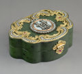 Decorative Arts, Continental:Other , A Spinach Jade, 14K Gold, Diamond, Guilloché Enamel, andCabochon-Mounted Snuff Box in the Manner of Fabergé, late 20...