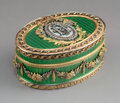 Decorative Arts, Continental:Other , A Guilloché Enamel, 14K Vari-Color Gold, and Diamond Snuff Box inthe Manner of Fabergé, late 20th century. 1-5/8 x 3-7/...