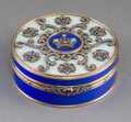 Decorative Arts, Continental:Other , A Guilloché Enamel, 14K Vari-Color Gold, Diamond, andCabochon-Mounted Snuff Box in the Manner of Fabergé, late 20thcentury...