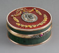 Decorative Arts, Continental:Other , A Spinach Jade, 14K Vari-Color Gold, Diamond, Guilloché Enamel, andCabochon-Mounted Snuff Box in the Manner of Fabergé, lat...