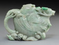 Asian:Chinese, A Chinese Carved Jadeite Teapot with Phoenix and Wave Motif,Republic Period, 1912-1949. 4 x 5-5/8 x 1-3/8 inches (...