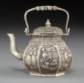 Asian:Chinese, A Chinese Silver-Plated Teapot. Marks: Six-character mark and of alater period. 5 x 4-3/4 x 3-1/4 inches (12.7 x...