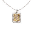Estate Jewelry:Pendants and Lockets, Treated Fancy Deep Brownish Yellow Diamond, Diamond, Platinum,White Gold Pendant-Necklace. ...