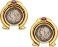 Estate Jewelry:Earrings, Ruby, Silver Coin, Gold Earrings. ...