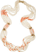 Estate Jewelry:Necklaces, Coral, Freshwater Cultured Pearl, Gold Necklace. ...