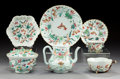 Asian:Chinese, A Seven-Piece Assembled Chinese Export Porcelain Tea Set withApplied Lotus Foliage, Qing Dynasty, Qianlong Period, 1736-179...(Total: 7 Items)