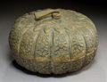 Decorative Arts, Continental:Other , A Persian Melon-Form Silvered Brass Box, 19th century. 7 x 12-1/2 x12-1/2 inches (17.8 x 31.8 x 31.8 cm). ... (Total: 2 Items)