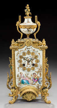 A French Louis XV-Style Gilt Bronze and Porcelain-Mounted Clock, late 19th century Marks to movement: (AD MOUGIN m