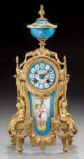 Clocks & Mechanical:Clocks, A Louis XVI-Style Gilt Metal and Porcelain Mounted Table Clock, late 19th century. 17-1/4 x 8-1/4 x 4-7/8 inches (43.8 x 21....