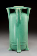 Ceramics & Porcelain, American:Modern  (1900 1949)  , A W.D. Gates for Teco Glazed Ceramic Buttressed Vase, Crystal Lake,Illinois, circa 1910. Marks: (double stamped)