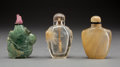 Asian:Chinese, Three Chinese Carved Hardstone Snuff Bottle. 2-1/2 inches (6.4 cm) (tallest). ... (Total: 3 Items)