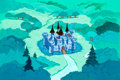 Animation Art:Painted cel background, The Smurfs King Gerard's Castle Painted Background(Hanna-Barbera, 1981)....