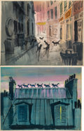 Animation Art:Concept Art, The Aristocats Concept Paintings Original Art Group of 2 (Walt Disney, 1970).... (Total: 2 Items)