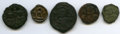 Ancients:Ancient Lots , Ancients: ANCIENT LOTS. Byzantine. Ca. AD 698-959. Lot of five (5)AE folles and fraction. Fine-VF.... (Total: 5 coins)