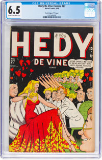 """Hedy Devine Comics #27 Davis Crippen (""""D"""" Copy) Pedigree (Timely, 1948) CGC FN+ 6.5 Cream to off-white pages..."""