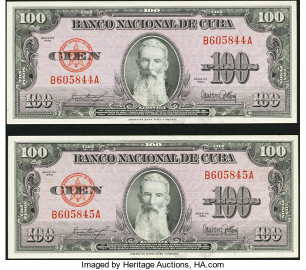 World Currency Cuba Banco Nacional De 100 Pesos 1954 Pick 82b Twoconsecutive Examples
