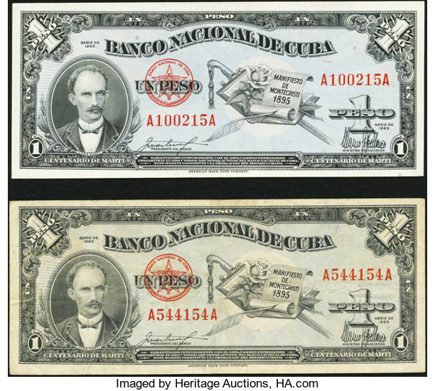 World Currency Cuba Banco Nacional De 1 Peso 1953 Pick 86a Two Examples