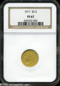 Proof Indian Quarter Eagles: , 1911 $2 1/2 PR 67 NGC. ...