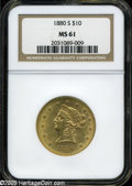 Liberty Eagles: , 1880-S $10 MS61 NGC. ...