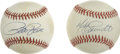 Autographs:Baseballs, Pete Rose and Mike Schmidt Single Signed Baseballs Lot of 2. In anera of fashion that we would like to forget in the late...