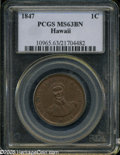 Coins of Hawaii: , 1847 1C Hawaii Cent MS63 Brown PCGS. ...