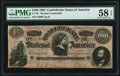 """Confederate Notes:1864 Issues, CT65/491 """"Havana Counterfeit"""" $100 1864 PMG Choice About Unc 58 EPQ.. ..."""