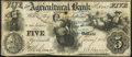 Obsoletes By State:Iowa, Des Moines, IA- A.J. Stevens/Bank of Iowa on Agricultural Bank ofTennessee $5 Jan. 1, 1856 Fine.. ...