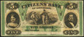 Obsoletes By State:Louisiana, New Orleans, LA- Citizens' Bank of Louisiana $5 18__ Remainder Crisp Uncirculated.. ...
