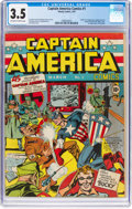 Golden Age (1938-1955):Superhero, Captain America Comics #1 (Timely, 1941) CGC VG- 3.5 Off-white towhite pages....
