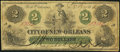 Obsoletes By State:Louisiana, New Orleans, LA- City of New-Orleans Counterfeit $2 Oct. 24,1862 Very Good-Fine.. ...