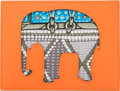 """Luxury Accessories:Accessories, Hermès Orange H & Blue Atoll Clemence Leather Elephant Pochette. Condition: 1. 6.5"""" Width x 5"""" Height x .25"""" Depth. ..."""