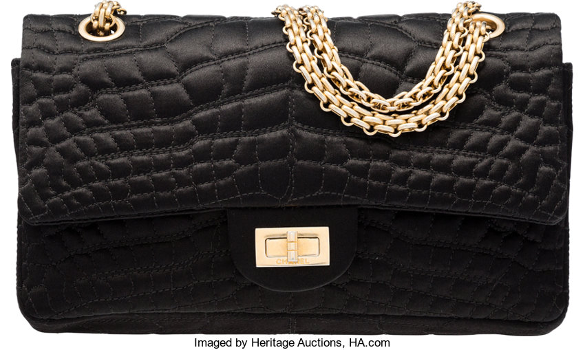 8840770a6195 ... Luxury Accessories:Bags, Chanel Black Satin Embroidered Reissue 225  Double Flap Bag withAged Gold ...