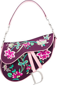 """Christian Dior Purple Floral Saddle Bag Condition: 1 11"""" Width x 7.5"""" Height x 2"""" Depth"""